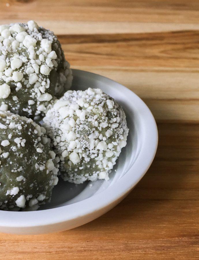 White Chocolate Matcha Truffles (Brigadeiros)