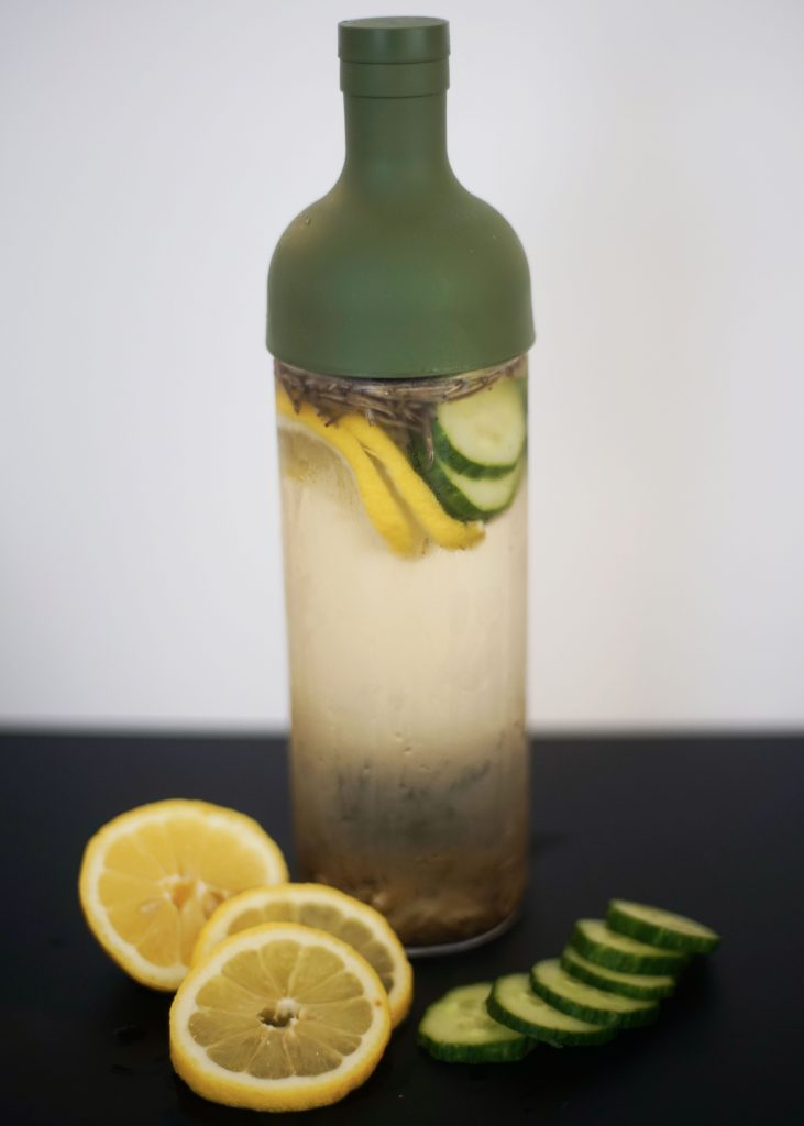 Cold Brew Bottle White Silver Needle with Lemon and Cucumber