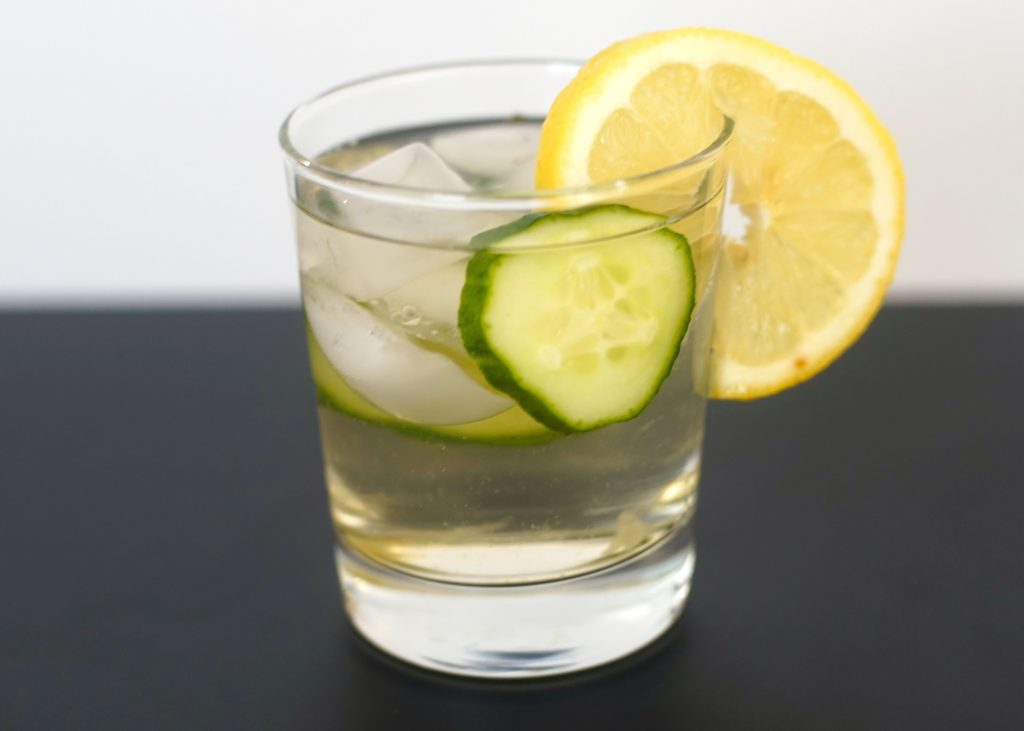 Cold Brew Glass White Silver Needle with Cucumber and Lemon