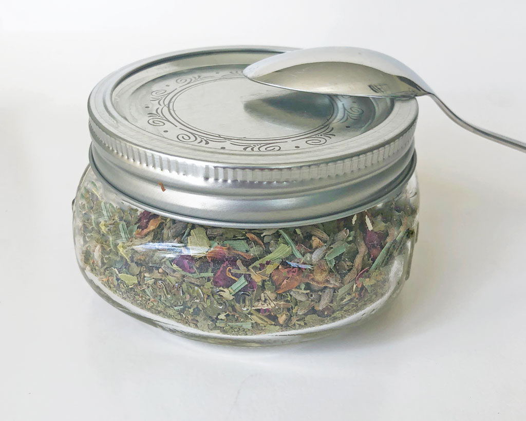 Night Time Herbal Tea Blend Stored in a Glass Jar
