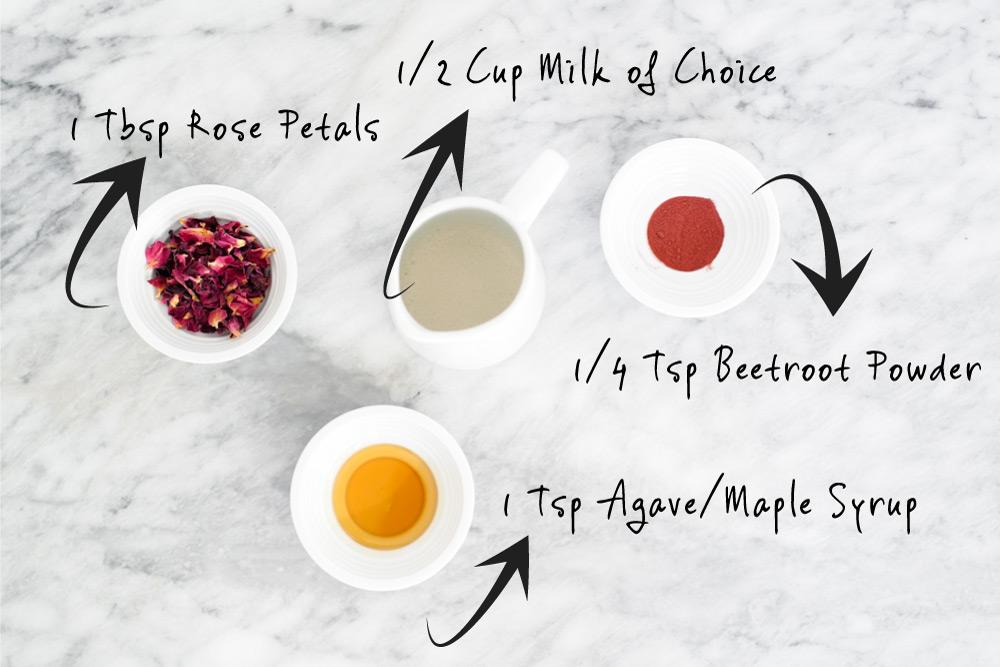 Rose Latte Ingredients for Recipe