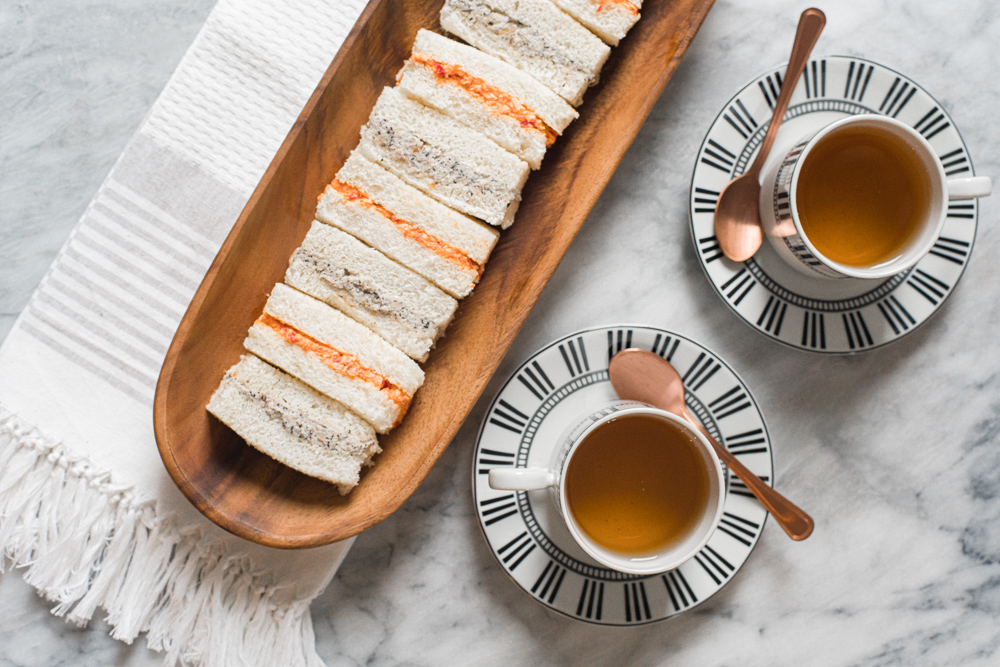 Chicken and roasted red pepper tea sandwiches and lapsang souchong walnut vegan cream cheese tea sandwiches paired with Da Hong Pao tea