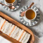 Chicken roasted red pepper tea sandwich and lapsang souchong walnut vegan cream cheese tea sandwich
