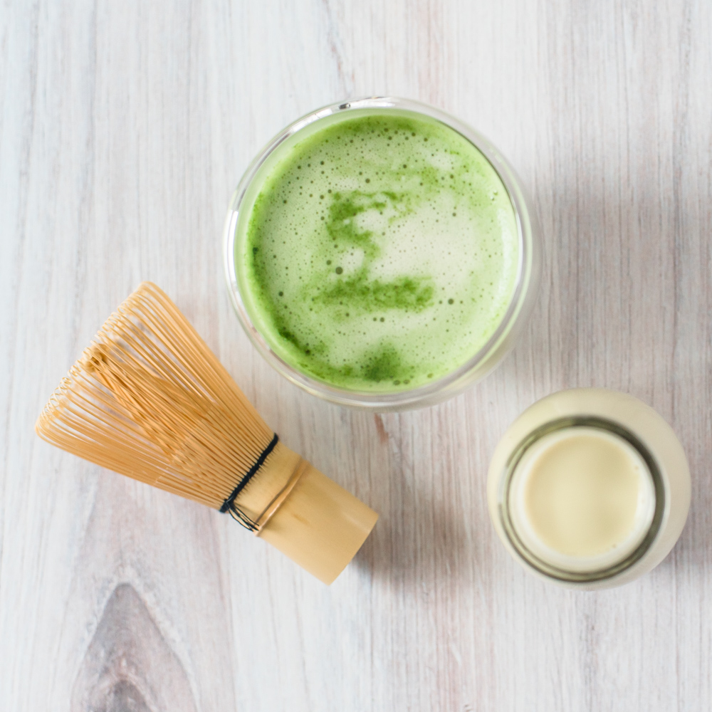 This pistachio Matcha Latte can be prepared hot or cold