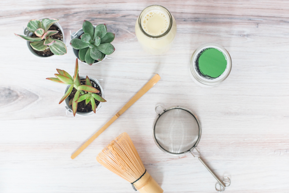 Pistachio Matcha Latte Recipe Tools and Ingredients