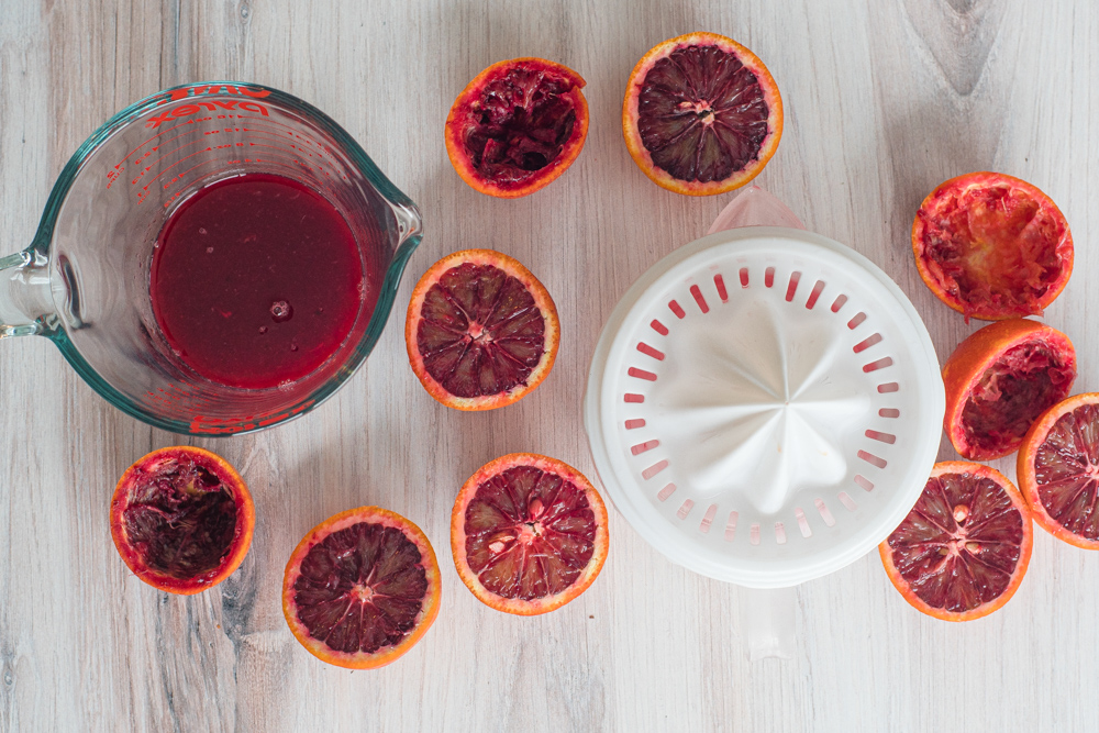 Blood orange Juice for sorbet